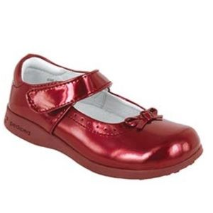 Pediped Girls Isabella Red Mary Janes Walker Shoes
